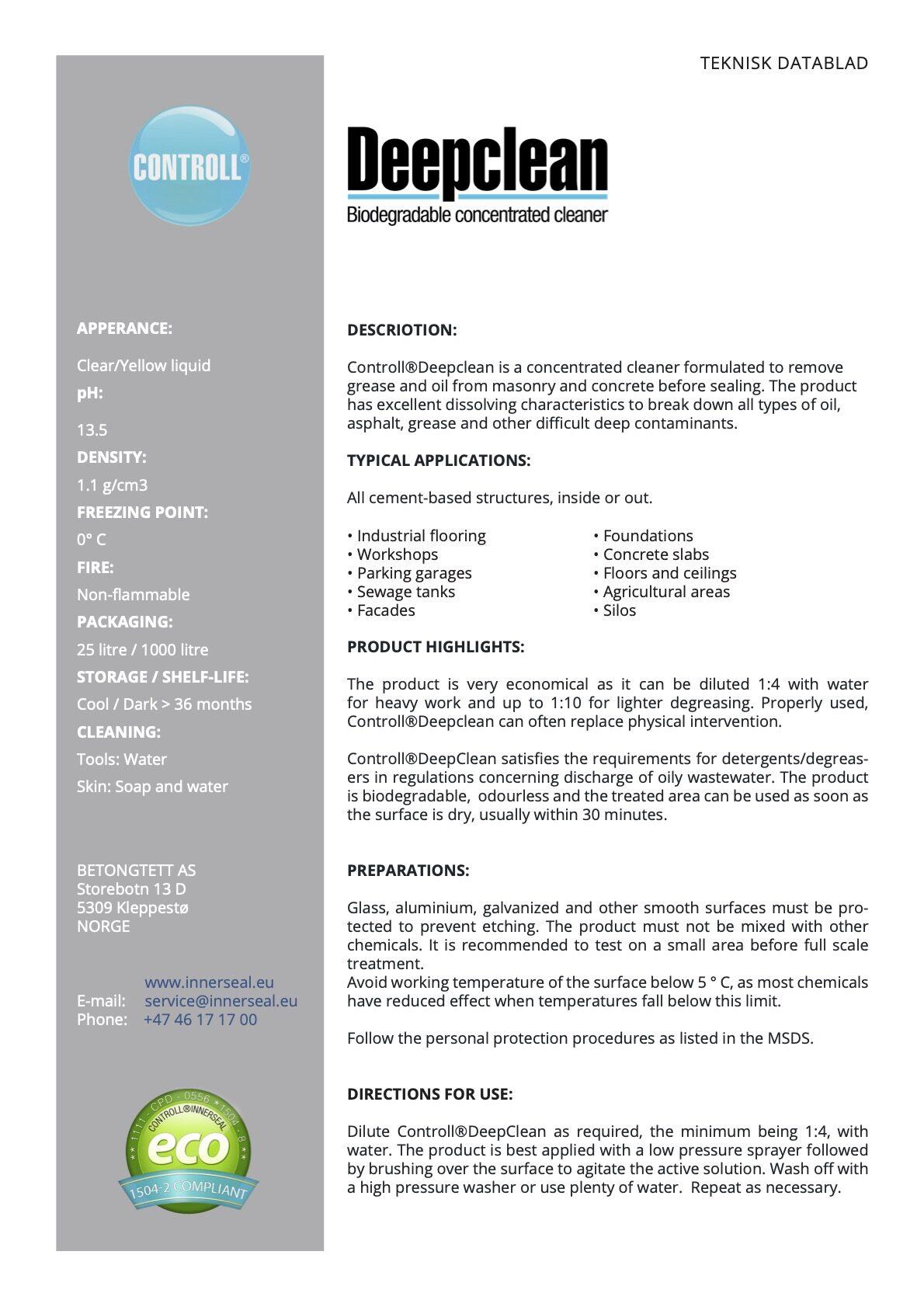 TDS Deepclean en Controll komsol Deutschland