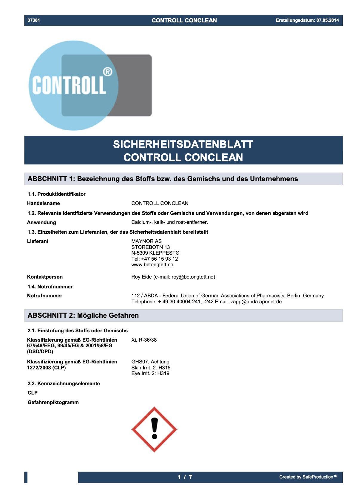 komsol controll conclean sicherheitsdatenblatt deutschland