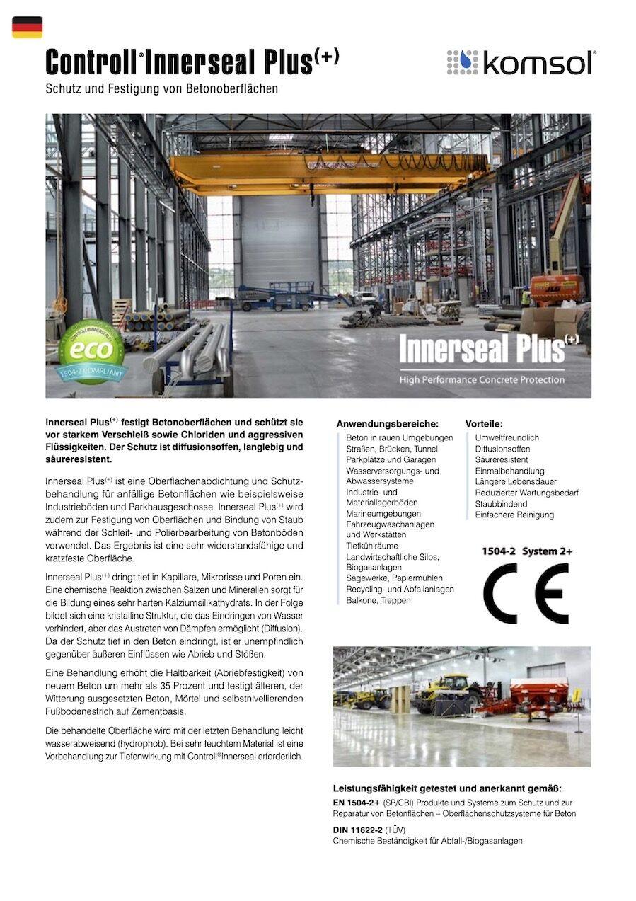 TDS Controll Innerseal PLUS DE 2018 GREENLINE komsol Deutschland Technisches Datenblatt